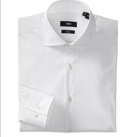 Hugo Boss slim fit stretch white shirt